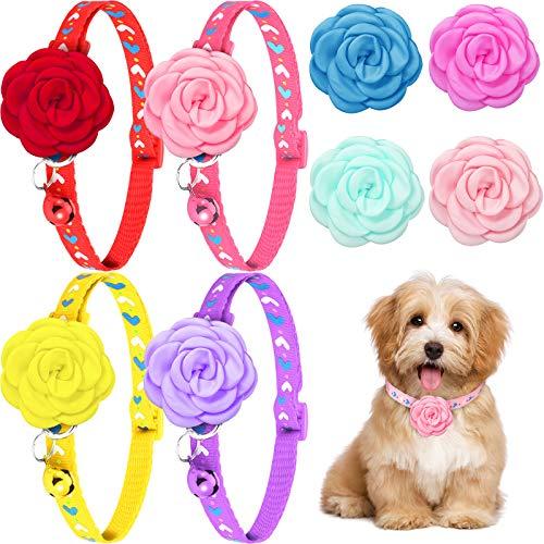 12 Stücke Hund Basic Halsband Set Hunde Halsband Blumen Zubehör Hund Katze Hündchen Abnehmbare Blume Fliege Krawatte Halsband Dekoration Set für Hunde und Katzen