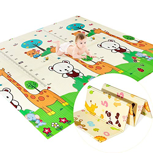 Baby Play Mat, Extra Large Foam Play Mat for Baby Foldable Reversible, Waterproof Portable Crawling Mat for Baby, Toddlers, Kids Play Mat Indoor or Outdoor Use 79' x 71' x 0.59'