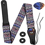 Guitar Strap, Anwenk Acoustic Guitar Strap Bass Guitar Strap for Kids Adult with Pick Pocket 3 Guitar Picks Woven Hootenanny Vintage Pattern with Tie for Acoustic Guitars Purple
