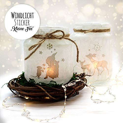 ilka parey wandtattoo-welt Feenlicht Feenwindlicht DIY Weihnachtsdeko Weihnachten Rehe Elfen Sterne Schneeflocken Lichtdeko Winter Aufkleber Glas Sticker wl1