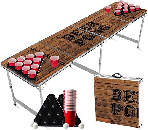 Offizieller Old School Beer Pong Tisch Set | Full Beer Pong Pack | Inkl. 1 Beer Pong Tisch + 2 Beer Pong Rack + 22 Rot Becher 53cl + 4 Ping-Pong-Bälle | Premium Qualität | Partyspiele | Trinkspiele