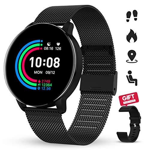GOKOO Reloj Inteligente Mujeres Hombres con Android iOS Smartwatch Reloj 1.3 Pulgadas Pantalla Completa Táctil Reloj Deportivo Presión Arterial Frecuencia Cardíaca IP67 Impermeable Compatible (Negro)