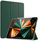 TiMOVO Case for New iPad Pro 12.9 inch 2021 (5th Gen), [Support 2nd Gen APPLE Pencil Charging] Slim Lightweight Translucent Frosted Hard Back Protective Cover with Auto Wake/Sleep - Midnight Green