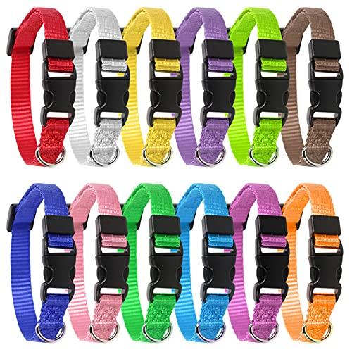 Yorgewd Pack de 12 collares ajustables para cachorros, perros pequeños y gatos (multicolor, 21,5 – 33 cm)