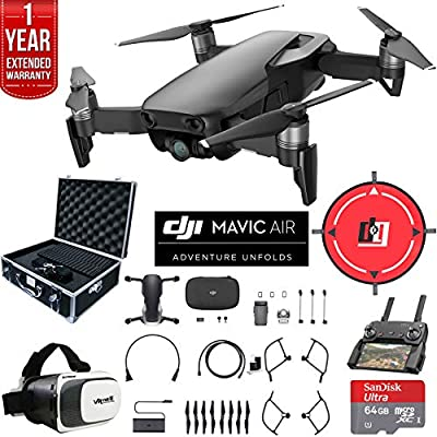DJI Mavic Air Fly More Combo (Arctic White) Drone Combo 4K Wi-Fi Quadcopter with Remote Deluxe Fly Bundle with Hard Case VR Goggles Landing Pad 64GB microSDXC Card and 1 Year Warranty Extension