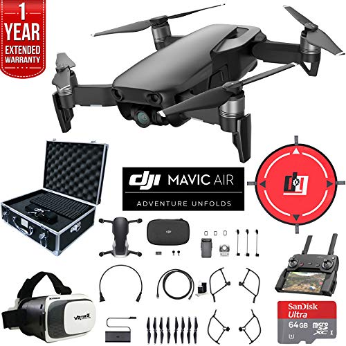 DJI Mavic Air Quadcopter Drone Onyx Black Bundle with 2X 32GB Memory Card, VR Viewer, Equipment Case, Cleaning Kit and 1 Year Extended Warranty