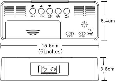 Led Reloj Despertador ElectróNico Reloj Despertador Espejo Digital Mudo FuncióN De Despertador Creativo Multifuncional Dormitorio Decorativo