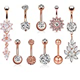 SENNI 9 Pcs 14G Stainless Steel Dangle Belly Button Rings Screw Navel Barbell Piercing Jewelry For Women (Rose Gold)