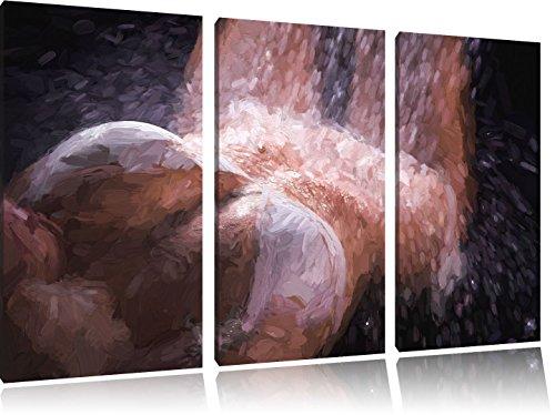 Vrouw in bikini onder een doucheFoto Canvas 3 deel | Maat: 120x80 cm | Wanddecoraties | Kunstdruk | Volledig gemonteerd