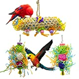 EBaokuup 3Pack Bird Chewing Toys Foraging Shredder Toy Parrot Cage Shredder Toy Bird Loofah Toys Foraging Hanging Toy for Cockatiel Conure African Grey Parrot