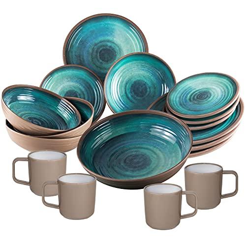 Melamin Geschirrset für 4 Personen mit Salatschüssel - 17 Teile - Campinggeschirr - blau Tonoptik - elegant Essgeschirr spülmaschinengeeignet
