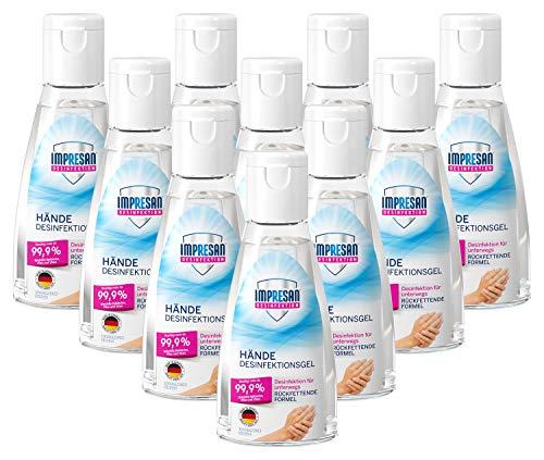 Impresan Hände Desinfektions-Gel: Hand-Reinigung für unterwegs - auch für sensible Haut - 10 x 55 ml im praktischen Vorteilspack