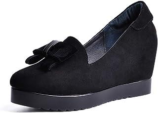 [OceanMap] 美脚 厚底 パンプス 痛くない コンフォートシューズ レディース ヒール 8cm スエード ウエッジソール オフィス 冠婚葬祭 パーティー 厚底 コンフォートシューズ レディース 靴 ヒール パンプス 痛くない 黒 ウェッジソール