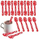 24 Peppermint Flavored Candy Cane Spoons, Hot Chocolate Party, Bulk Children Christmas Favors, Birthday Goody Bag Filler Stocking Stuffers for Kids Each Individually Wrapped, 6 Inches