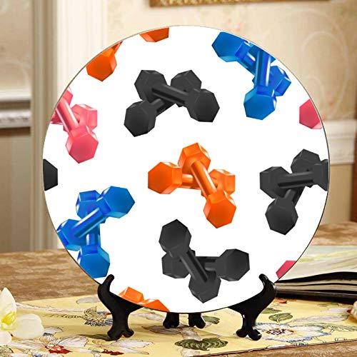 Herramientas de estilo de vida físico Mancuernas Plato de cerámica elegante Platos decoradores Placa oscilante para el hogar con soporte de exhibición Decoración Platos para fiestas en el hogar Deco