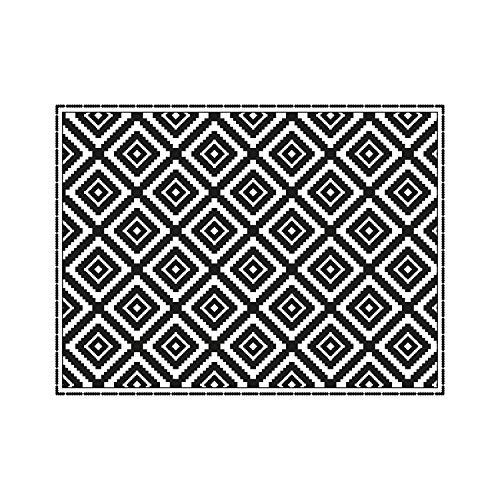 contento Mantel Individual de Vinilo, 30 x 40 cm, Color Blanco y Negro