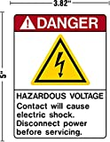Danger Hazardous Voltage Contact Will Cause Electric Shock Disconnect Power Before Servicing Decal Sticker Placard 3.82'W X 5'H