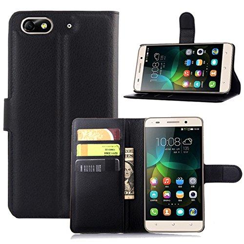 Ycloud Tasche für Huawei G Play Mini (Honor 4C) Hülle, PU Ledertasche Flip Cover Wallet Hülle Handyhülle mit Stand Function Credit Card Slots Bookstyle Purse Design schwarz