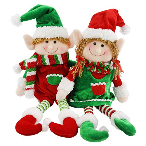 Athoinsu 2 PCS Christmas Elves Plush Dolls Adorable Elf Boy Girl Xmas Holiday Decorations Gifts for Toddler Kids, 12''