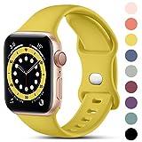 CeMiKa Compatible con Apple Watch Correa 38mm 42mm 40mm 44mm, Deportivas de Silicona Correas de Repuesto Compatible con iWatch SE Series 6 5 4 3 2 1, 42mm/44mm-M/L, Amarillo Mango