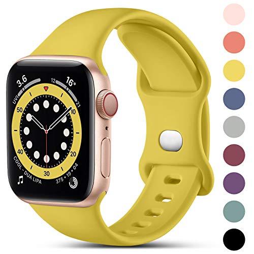 CeMiKa Compatible con Apple Watch Correa 38mm 42mm 40mm 44mm, Deportivas de Silicona Correas de Repuesto Compatible con iWatch SE Series 6 5 4 3 2 1, 38mm/40mm-S/M, Amarillo Mango
