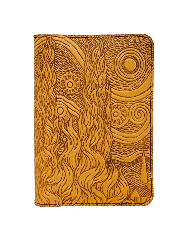 Oberon Design Van Gogh Sky Pocket Notebook Cover, Fits Many 5.5 x 3.5 Inch Notebooks, Embossed Genuine Leather, Marigold Color, Made in The USA