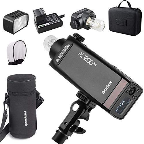 【Godox正規代理店&PSEマーク】Godox AD200Pro フラッシュストロボ ポケットサイズ 無線制御 高速同期など Pergear 携帯バッグとディフューザー同梱