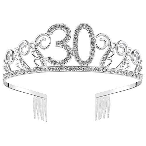 BABEYOND Kristall Geburtstag Tiara Birthday Crown Prinzessin Geburtstag Krone Haar-Zusätze Rosa oder Silber Diamante Glücklicher 18/20/21/30/40/50/60/90 Geburtstag (30 Jahre alt Silber)