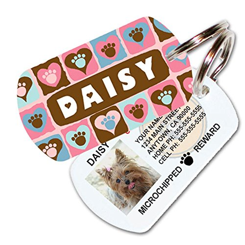 Paws on Hearts Custom Dog Tags for Pets (Pink) - Personalized Pet ID Tags - Dog Tags for Dogs - Dog ID Tag - Personalized Dog ID Tags - Cat ID Tags - with Pet Photo