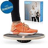SportyAnis Premium Balance-Board Holz inkl. Übungsbuch und optional Unterlegmatte, Durchmesser 40 cm - Therapiekreisel Wackelbrett für Physiotherapie zur Stärkung der Tiefenmuskulatur