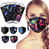 100Pcs Disposable Face Masks - Butterfly Print Masks, Butterfly Mask for Women, Printed Disposable Face Mask Butterfly, 3 Ply Comfortable Non-woven Safety Masks