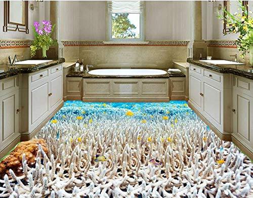 Pegatinas De Suelo Baldosas De Vinilo Papel Tapiz De Coral Blanco Suelo 3D Moderno Papel Tapiz De Cocina A Prueba De Agua Murales De Suelo De Vinilo Papel Tapiz-430 * 300Cm Para El Dormitorio De La