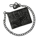 Jack's Inn 54 Bikerbörse mit Kette aus Edelstahl - 'Spade' mit Prägedruck in schwarz