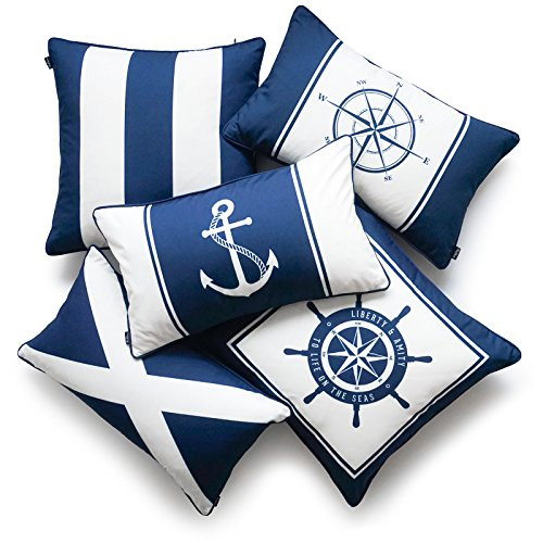 Hofdeco Nautical Indoor Outdoor Pillow Cover ONLY, Water Resistant for Patio Lounge Sofa, Navy Blue Wheel Flag Anchor Compass Stripes, 18