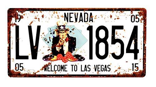 DiiliHiiri Placa De Matrícula Cartel Vintage para Pared de Chapa de Metal Diseño Creativo Decoraciones de Bar Pub Cafetería (Las Vegas)