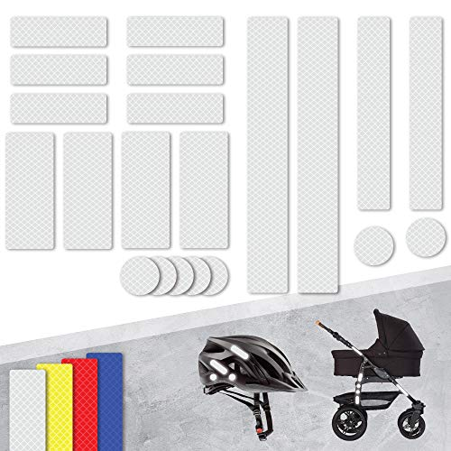 Tampen 21x Reflektor Aufkleber Sticker (Set) · hohe Sichtbarkeit im Herbst und Winter · Reflektoren für Kinderwagen, Fahrrad, Helm uvm. · wasserfeste Leuchtaufkleber · Weiß