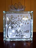 8x8' Fly High Until We Meet Again Memorial Lighted Glass Block, Sympathy Gift, In Memory Of, Loss of a Loved One Keepsake
