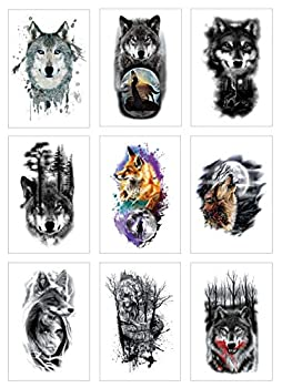 Wolf Temporary Fake Tattoo Stickers For Man Half Arm Size L8.3 xW5.8