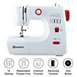 Meditool Sewing Machine Household Multifunction Double Thread and Speed Free-Arm Crafting Mending Machine with 16 Stitches - White & Red