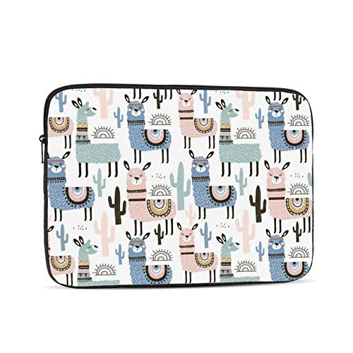 KXT Blue Llama Cactus Laptop Sleeve,Carrying Bag Chromebook Case Notebook Bag Tablet Cover