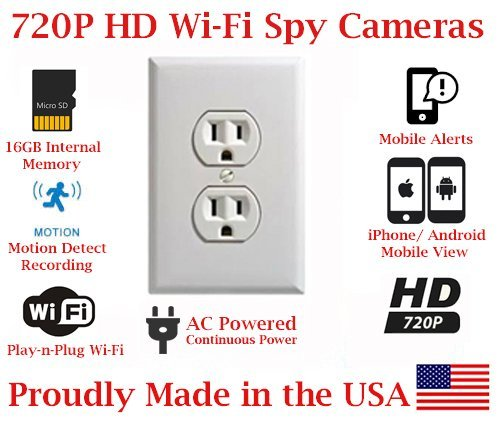 Lowest Price! SecureGuard Elite 1080P HD WiFi Wireless IP AC Power Receptacle Outlet Hidden Security...