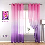 YZhome Pink and Purple Sheer Curtain for Kids Room Bedroom 2 Panel,Cute Pastel Gradient Ombre Lavender Voile Drapes Grommet Top Faux Linen Window Curtain for Living Room (52 x 96 Inch,Pink to Purple)