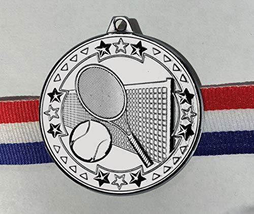 Trophy Shack - Confezione da 10 medaglie da tennis 'Tri Star', 5 cm, colore: Argento