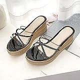 ypyrhh Chanclas Mujer Verano,Cuña Transparente con Arrastre de Arena, Zapatillas de Fondo Grueso-Negro_39,Zapatos de Playa y Piscina