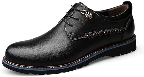 Hhor Hhor Hhor 2018 Pour des hommes Affaires Oxford Décontracté Simple Classique Cravate Ronde Cravate Chaussures Formelles (Couleur  Marron, Taille  45 EU) (Couleuré   Noir, Taille   45 EU) 1a8