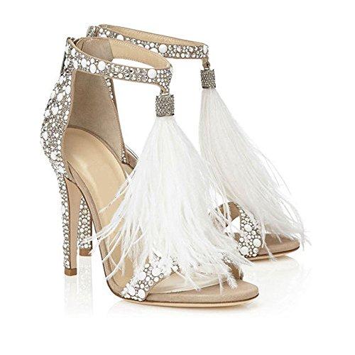 azmodo Women's Wedding Dress Party & Evening Stiletto Heel Pearl Rhinestones Tassel (White, 6.5)