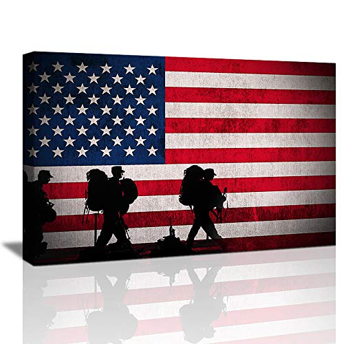 American Flag Canvas Wall Art , American Flag Wall Decor USA US Military Soldiers Army, Vintage Framed American Flag US Patriotic Art Decoration Mens Room Décor Ready to Hang