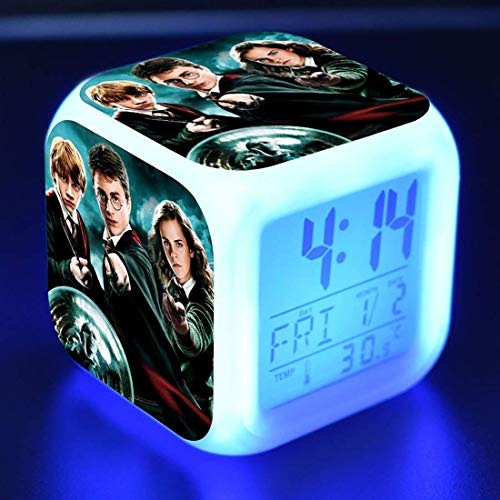 YAOUFBZ El Nuevo Despertador Digital de Harry Potter,Luces de Colores,Reloj Despertador de Estado de ánimo,Reloj Cuadrado Disponible,Carga USB Adecuada para niños y niñas,niños