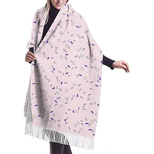 Cathycathy Chal con aspersión de estrellas Chal de bufanda de cachemir largo de invierno para hombres y mujeres