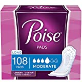 Poise Incontinence Pads for Women, Moderate Absorbency, Long, 108 Count (2 Packs of 54) (Packaging May Vary)